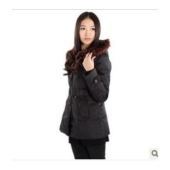 6020 女 貉子毛领修身中款羽绒服 少女时尚款冬装批发 团购工作服