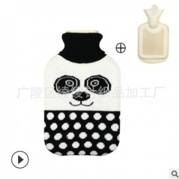 厂家直销各种卡通造型热水袋套装 冬季保暖热水袋 熊猫针织毛线套