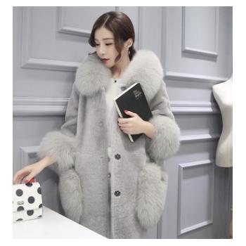 2018新款韩版冬季仿皮草外套女中长款时尚加大衣女外套皮草批发城