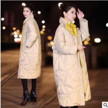 羽绒服生产厂家 时尚冬新款羽绒外套 无帽中长款羽绒女式外套
