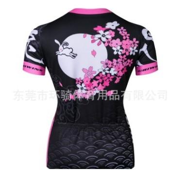 2017樱花女款骑行服短袖吸湿排汗透气速干衣户外运动服骑行服外贸