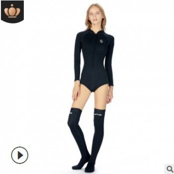 新款连体比基尼速干潜水泳衣 2mm保暖长筒潜水袜 冲浪潜水服套装