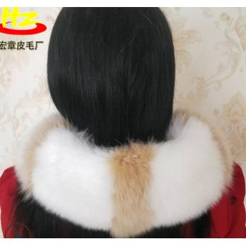 厂家生产 中长款狐狸毛领 呢大衣真毛领 派克服毛领 尺寸可定制