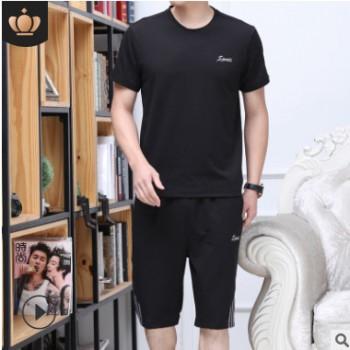 男士夏季短袖套装中老年运动套装男爸爸装纯棉t恤休闲两件套新款