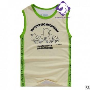 时尚跑步运动装无袖薄款背心卡通diy订做高品质服装厂家直销聚酯