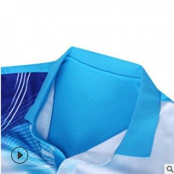 东莞服装厂家来图定制羽毛球服订做运动户外球服翻领短袖运动服