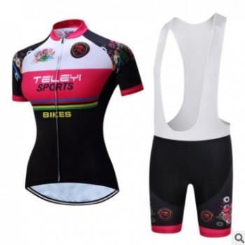 teleyi 女款吸湿排汗速干短袖骑行服套装自行车山地车衣服多款