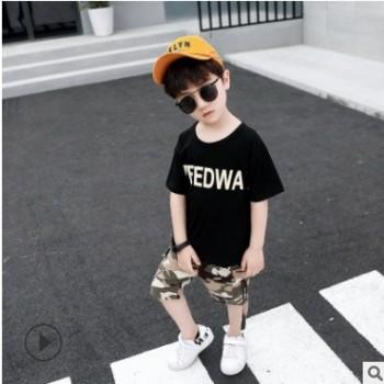 童装男童短袖套装夏装2019新款儿童中大童迷彩两件套短裤洋气韩版