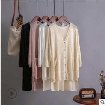 高品质亚麻防晒衫宽松中长款开衫百搭气质女装针织衫开衫七分袖