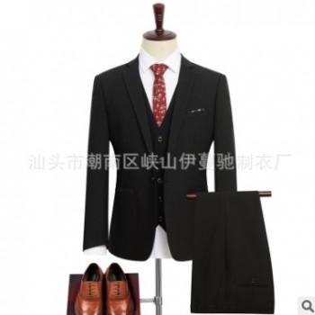 新款2019高档弹力结婚婚礼商务上班常规男式西服套装高品质西装