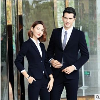 男女同款2019冬季新款西服套装职业装西装套装正装银行工作服工装