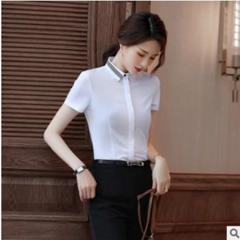 2019新款短袖OL修身职业装正装寸衫工作服工装百搭显瘦白衬衣女夏