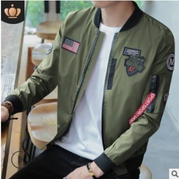亚马逊秋季新款男士夹克立领棒球服青年韩版潮流空军飞行服男外套