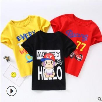 2019款童装中小童夏装儿童t恤纯棉男女夏季短袖童上衣卡通多彩