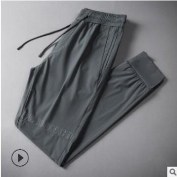 19夏季新款男士九分裤青年时尚运动裤高弹冰丝休闲裤男束脚松紧裤