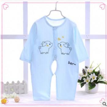 新生儿连体衣薄款 纯棉婴儿开档内衣 婴儿连身爬衣 竹纤维空调服