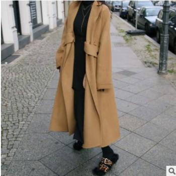 2018年新款长款宽松大摆个性时尚手缝双面呢大衣驼色黑色白色