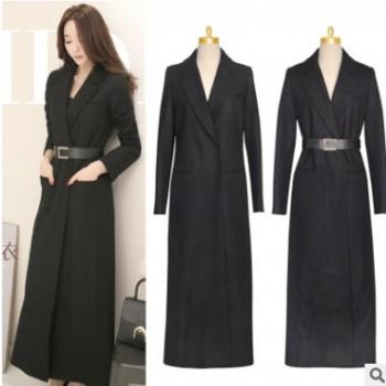 冬季新款加长款修身黑色羊毛呢大衣外套高端女装加工定制