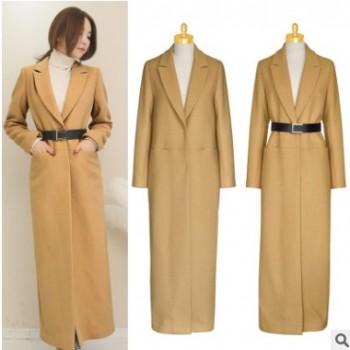 冬季新款超长款修身羊毛呢大衣外套韩国羊绒大衣