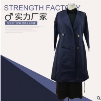 女士秋冬休闲风衣时尚大气双排扣大衣宽松显瘦过膝风衣外套女现货