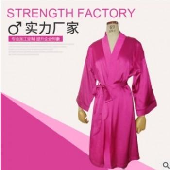新款睡衣女士仿真丝夏季晨袍系带冰丝家居服薄款开衫睡袍一件代发