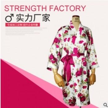 春夏季女士花式睡袍仿真丝薄款丝绸睡衣日式和服浴衣家居服批发