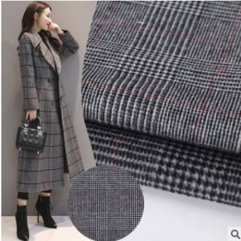 欧美秋冬大衣外套毛呢面料 50%羊毛顺毛羊绒面料格子双面毛呢布料