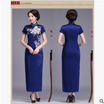 虞美记MR10101 真丝重磅刺绣改良长款旗袍