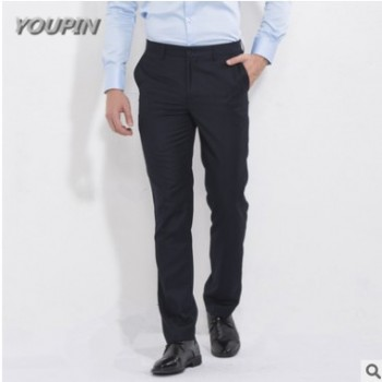 2017新款时尚商务正装英伦男士西裤 宝蓝色休闲直筒英伦男式西裤