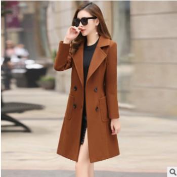 高档韩版新款冬季修身显瘦时尚气质中长款收腰毛呢外套女装呢大衣