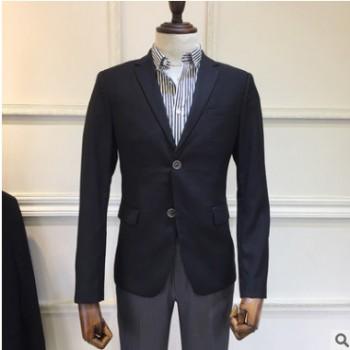 黑色男士西装套装 韩版时尚修身单排两粒扣单西装现货