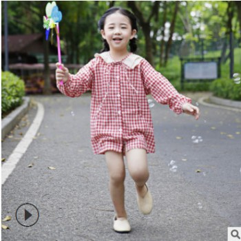 新款女童荷叶领纯棉连衣裙 红色格子纯棉衬衫裙 韩版女童连衣裙