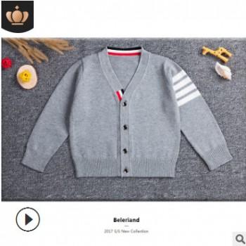 2019外贸新款童装毛衣 儿童韩版棉男童毛线针织开衫外套 一件代发