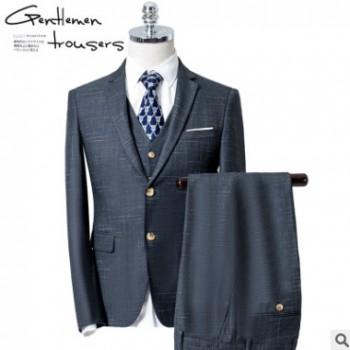 新郎西服套装男士三件套修身韩版结婚礼服商务正装英伦格子西装男