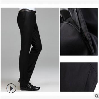 厂家直供2019新款男士高端面料修身免烫商务职业正装小脚直筒西裤