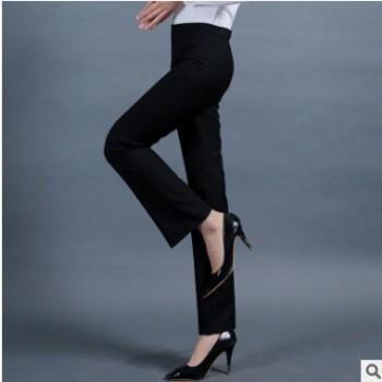 秋冬季职业西裤女士时尚韩版修身显瘦中腰直筒黑色工作正装长裤子