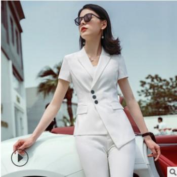 白色职业装套装女2019新款夏天短袖名媛小香风时尚气质西装工作服