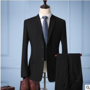 男式高档西服套装伴郞新郞藏青结婚礼服修身职业商务黑西装工作服