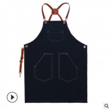 厂家直销牛仔围裙定制印logo咖啡店奶茶造型美甲理发师印字工作服