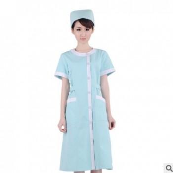 厂家直销护士服夏装短袖圆领医生服白大褂美容口腔药店工作服