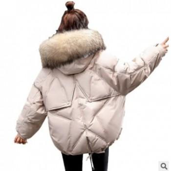 羽绒棉服女2019新款冬季外套大毛领面包服短款小个子时尚小款棉衣
