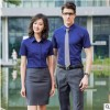 高档短袖竹纤维白衬衫男女同款职业修身4S店销售正装工装定制LOGO