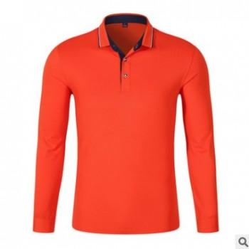 现货秋冬高尔夫长袖翻领定制班服文化衫广告衫企业工作服可印字