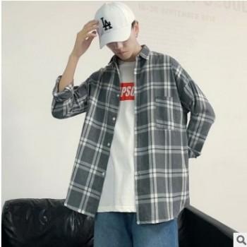 新款男式衬衫韩版修身休闲时尚2019男士长袖寸衫帅气格子潮流男装