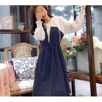 秋冬新款小清新撞色连帽收腰显瘦中长款卫衣裙甜美过膝休闲连衣裙