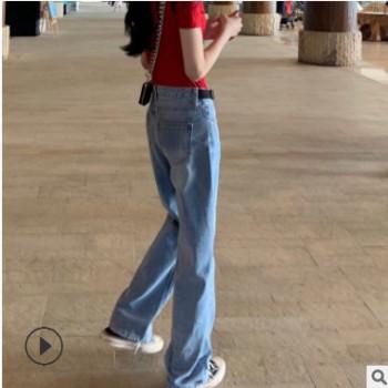 超好搭!拖地阔腿牛仔裤女韩版显瘦宽松韩版复古高腰直筒长裤泫雅