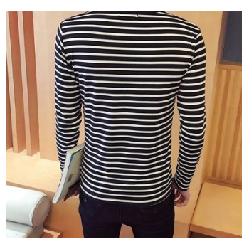 秋冬款小条纹t恤男士韩版修身上衣青年潮流休闲打底衫长袖Tee