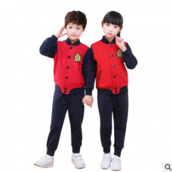 新款幼儿园园服童装春秋运动套装英伦风班服小学生校服厂家定制