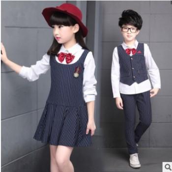 回正品牌童装新款男女童裙学院风套装中大儿童秋装班服校服两件套