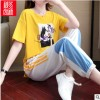 运动套装女夏季宽松韩版洋气网红法式小众两件套夏天休闲运动套装